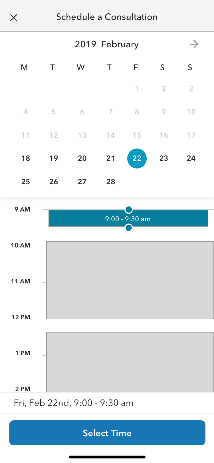 Calendar booking style