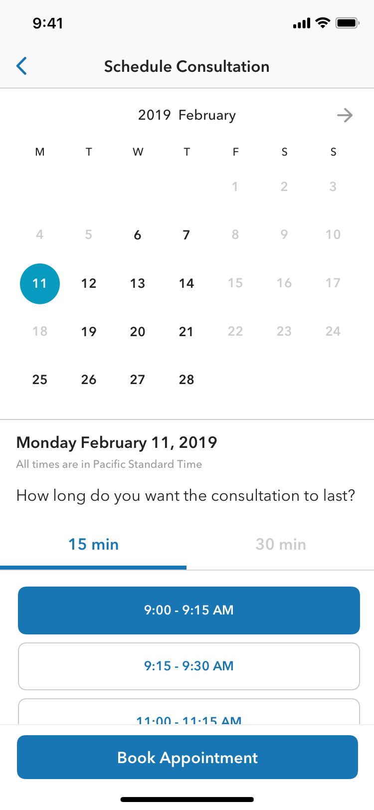 1. Unlimited future availability. 2. 15 min and 30 min of users' choice. 3. Set up follow-up consultation through the same flow.