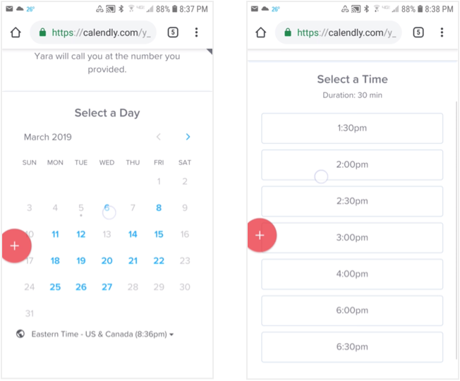 Have a date in mind first and select a time that is available. (Using Calendly.com)